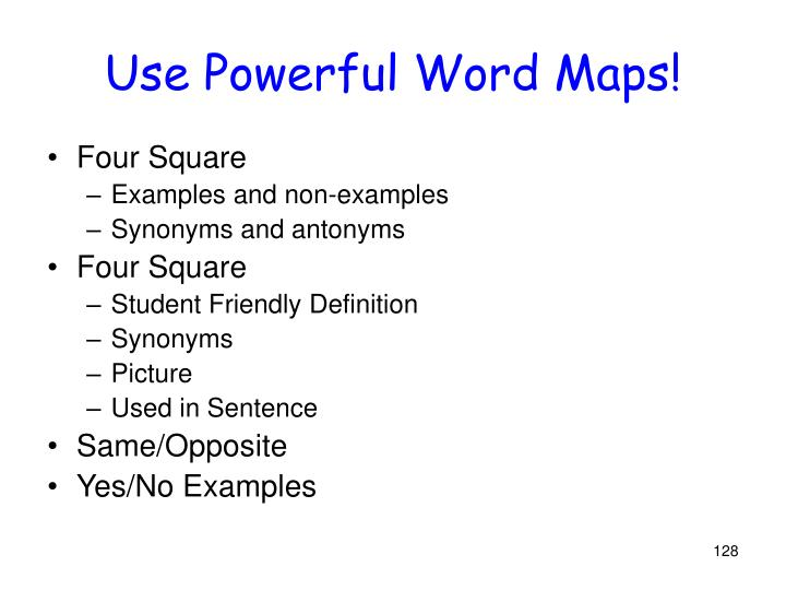 Use Powerful Word Maps!