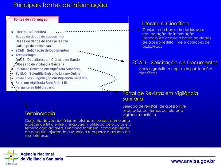 Principais fontes de informação