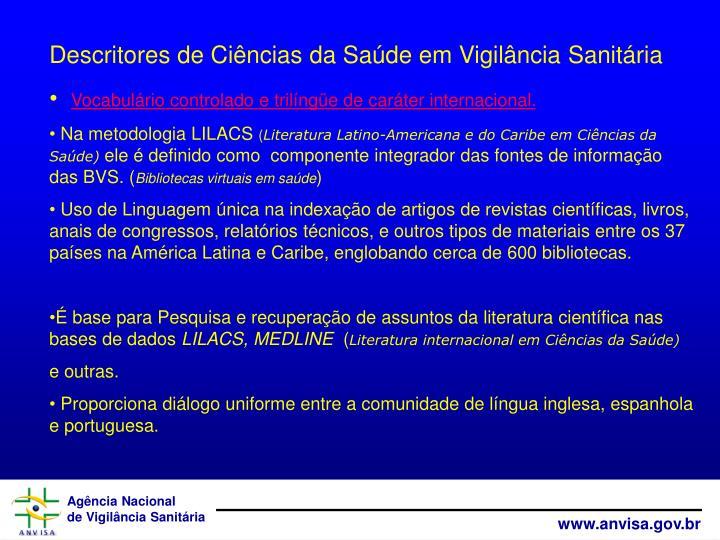Descritores de Ciências da Saúde em Vigilância Sanitária