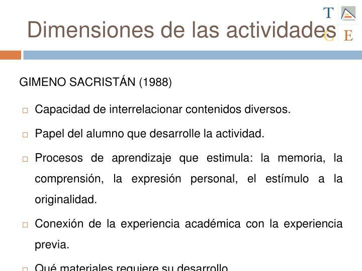 Dimensiones de las actividades