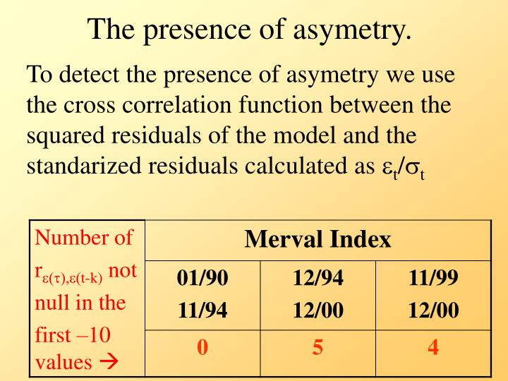 The presence of asymetry.
