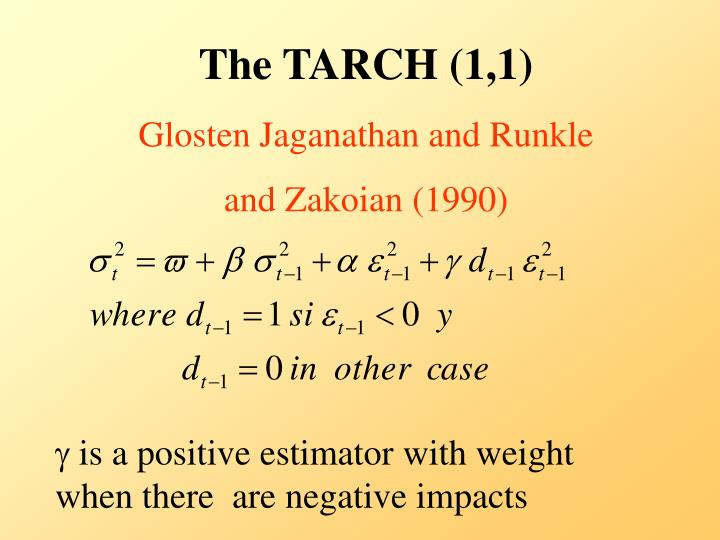 The TARCH (1,1)