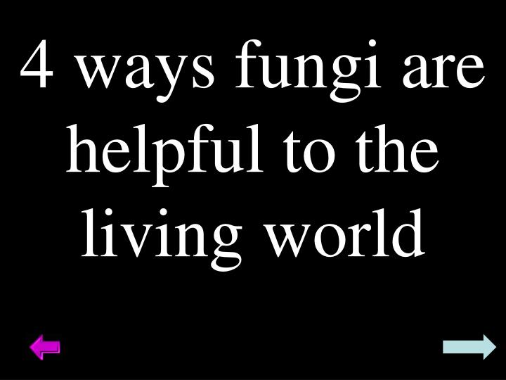 4 ways fungi are helpful to the living world