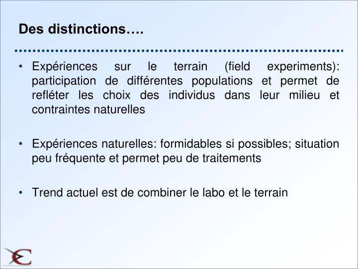 Des distinctions….