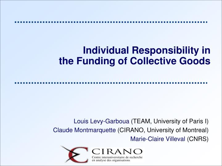 Individual Responsibility in