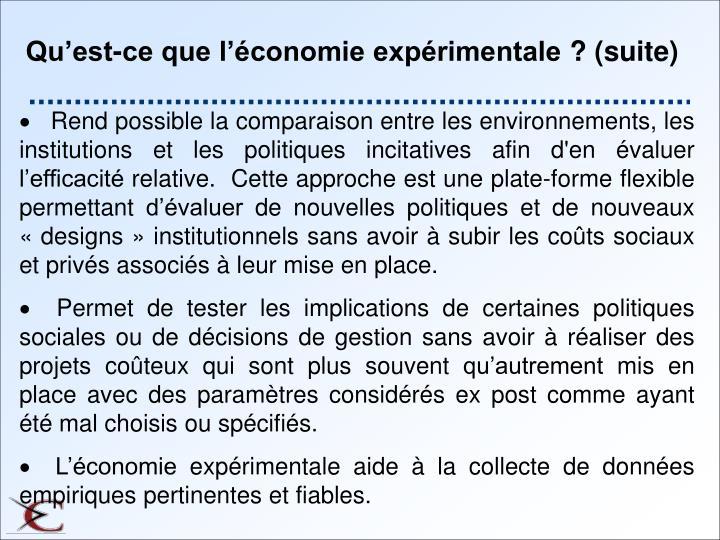 Qu'est-ce que l'économie expérimentale? (suite)