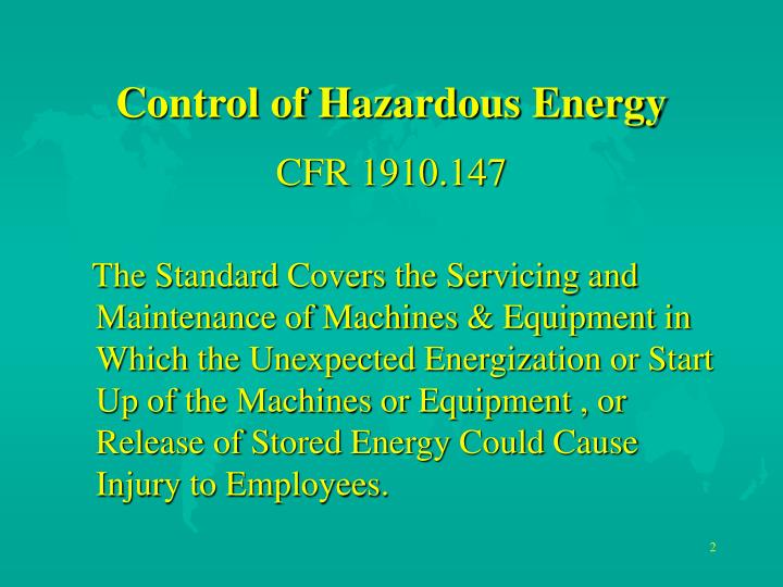 Control of hazardous energy1