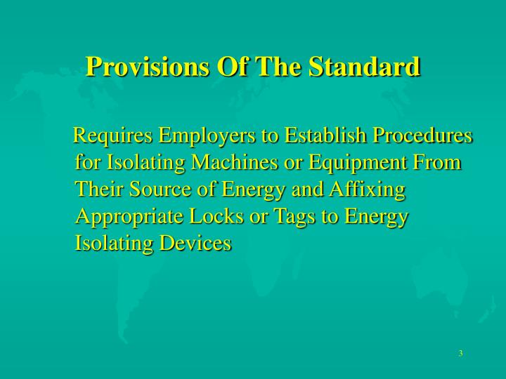 Provisions of the standard
