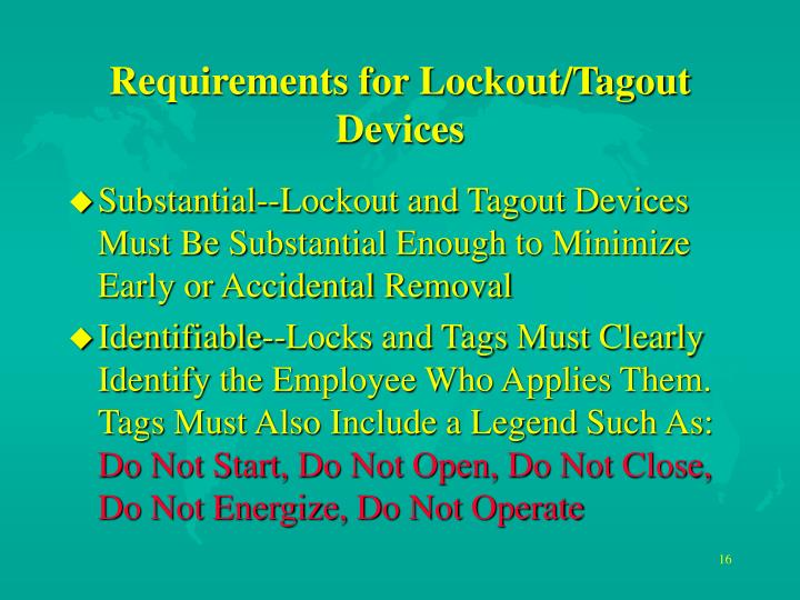 Requirements for Lockout/Tagout Devices