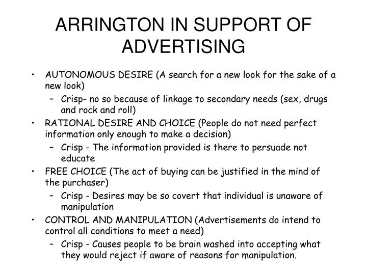 ARRINGTON IN SUPPORT OF ADVERTISING
