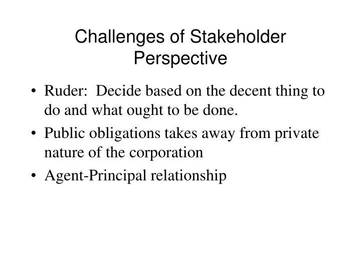 Challenges of Stakeholder Perspective