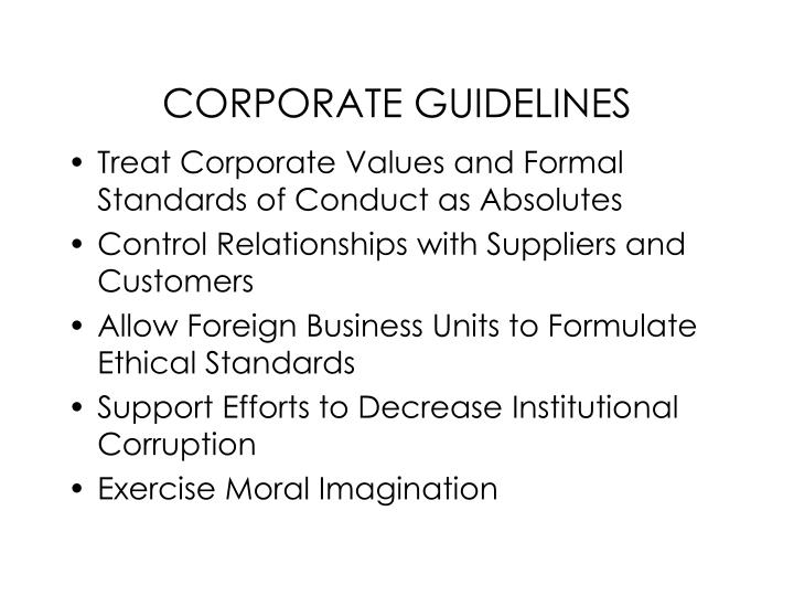 CORPORATE GUIDELINES