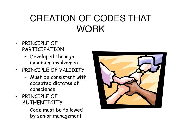 CREATION OF CODES THAT WORK