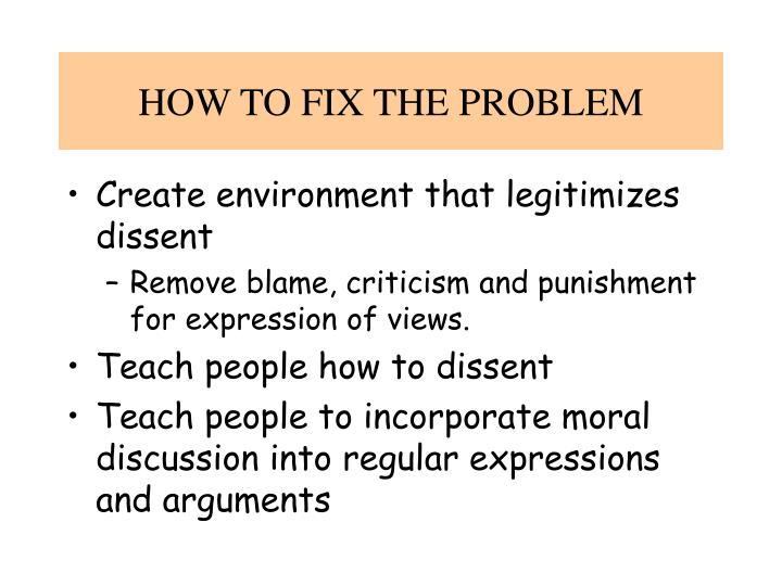 HOW TO FIX THE PROBLEM