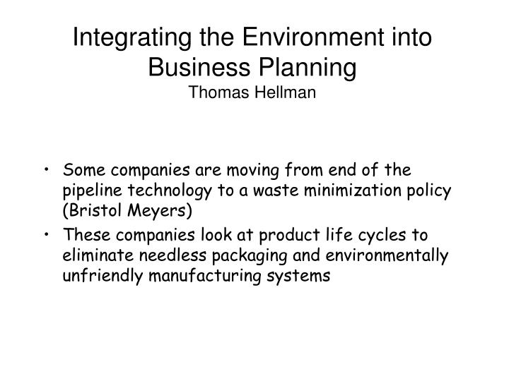 Integrating the Environment into Business Planning