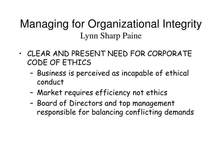 Managing for Organizational Integrity