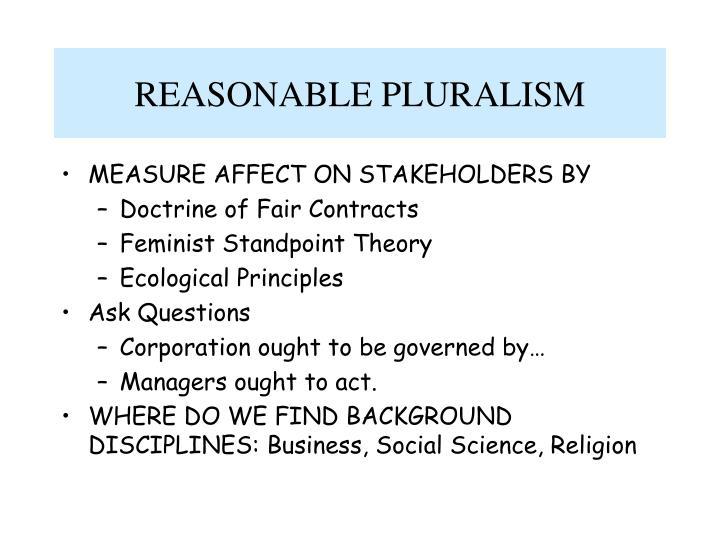 REASONABLE PLURALISM