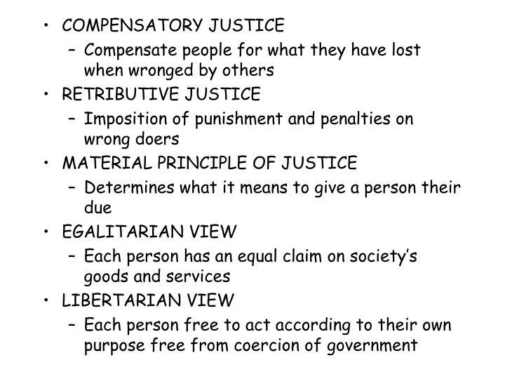 COMPENSATORY JUSTICE