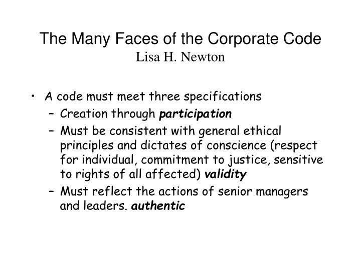 The Many Faces of the Corporate Code