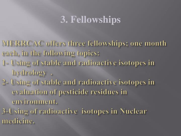 MERRCAC offers three fellowships; one month each, in the following topics: