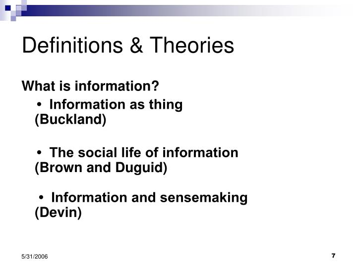 Definitions & Theories