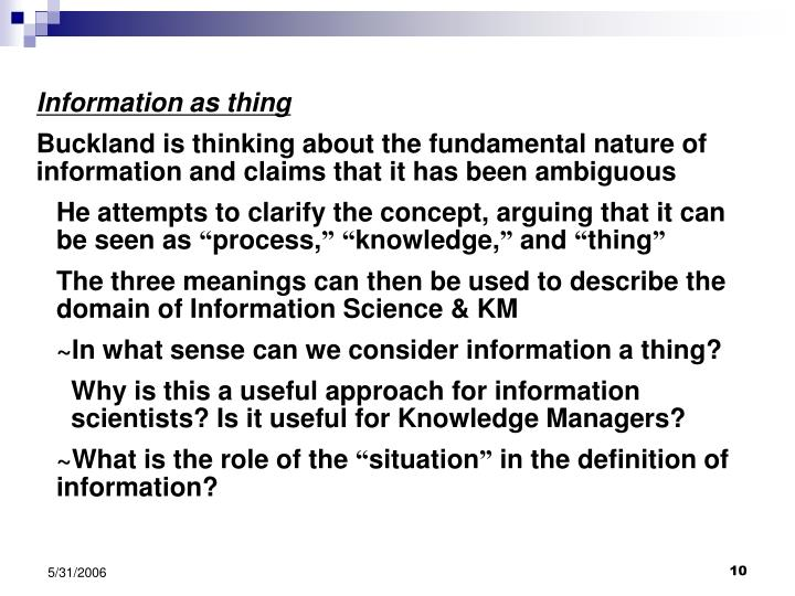 Information as thing