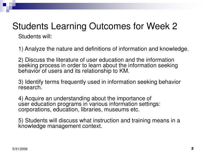 Students learning outcomes for week 2