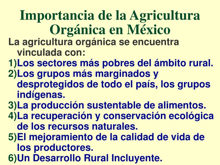 Importancia de la Agricultura Orgánica en México