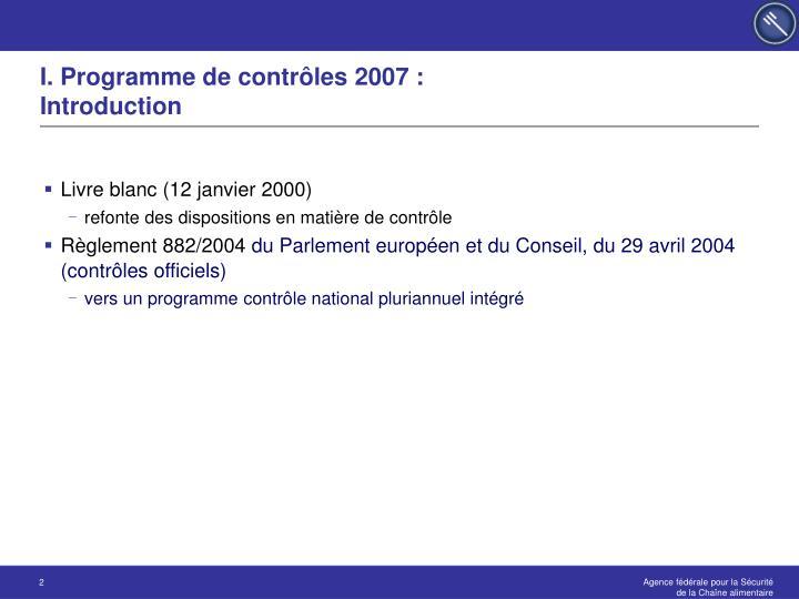 I. Programme de contrôles 2007 :