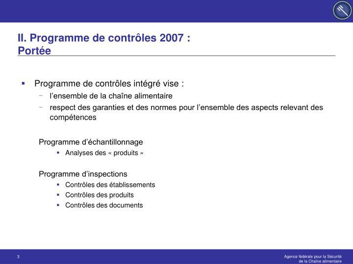 II. Programme de contrôles 2007 :