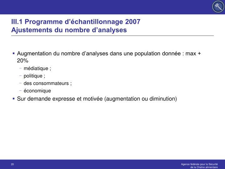 III.1 Programme d'échantillonnage 2007