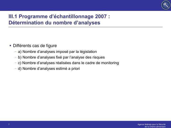 III.1 Programme d'échantillonnage 2007 :