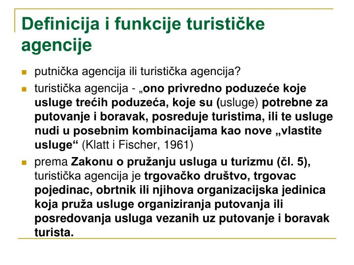 Definicija i funkcije turističke agencije