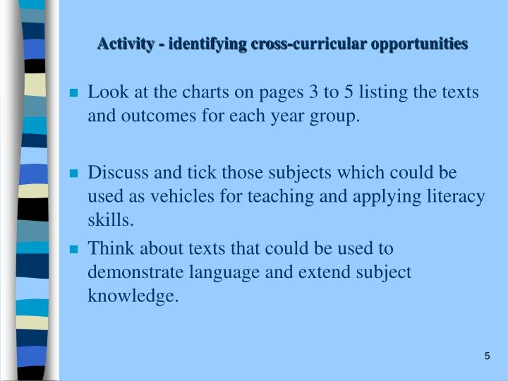 Activity - identifying cross-curricular opportunities