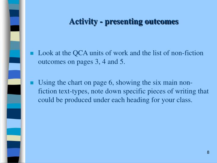 Activity - presenting outcomes