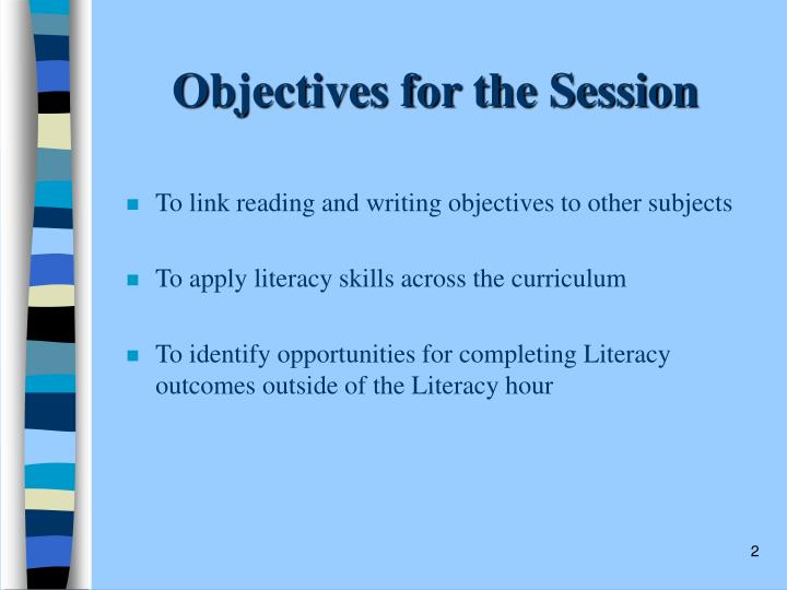 Objectives for the Session