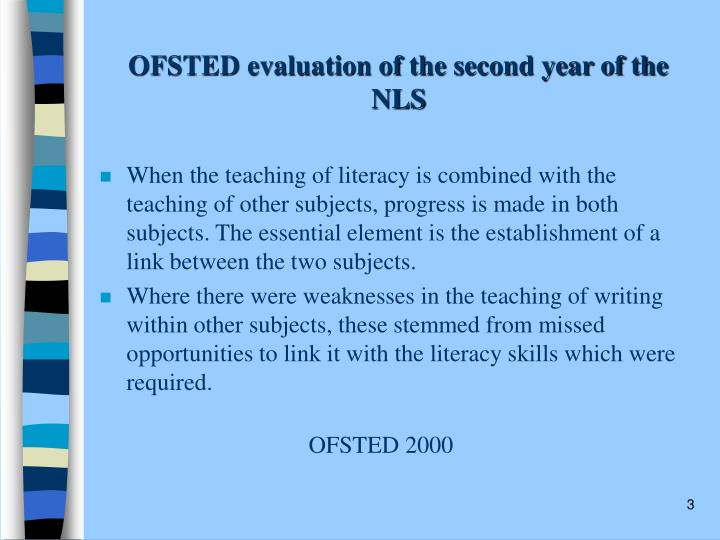 OFSTED evaluation of the second year of the NLS