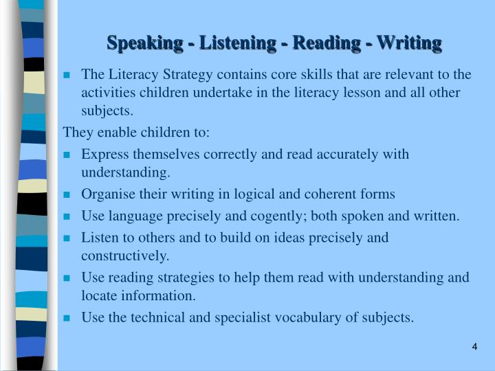 Speaking - Listening - Reading - Writing