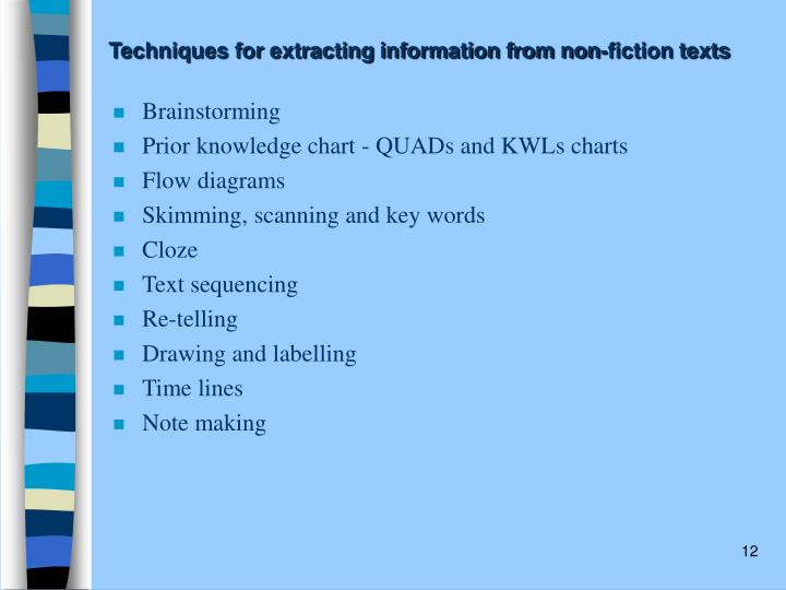 Techniques for extracting information from non-fiction texts