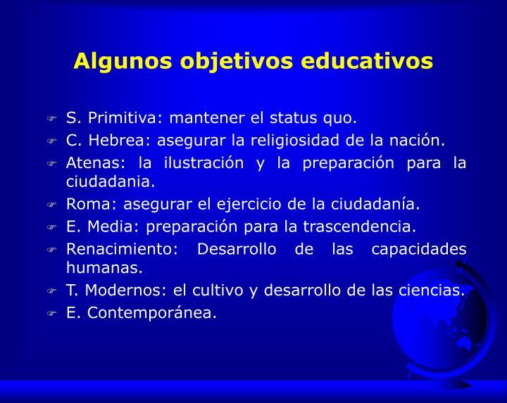 Algunos objetivos educativos