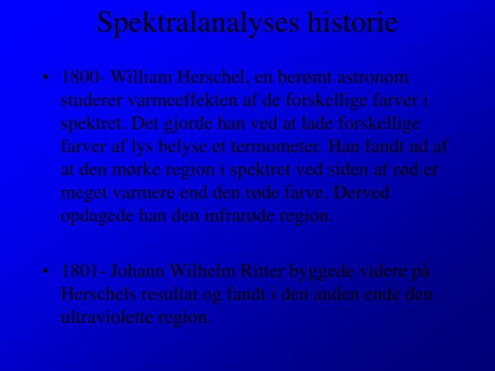 Spektralanalyses historie