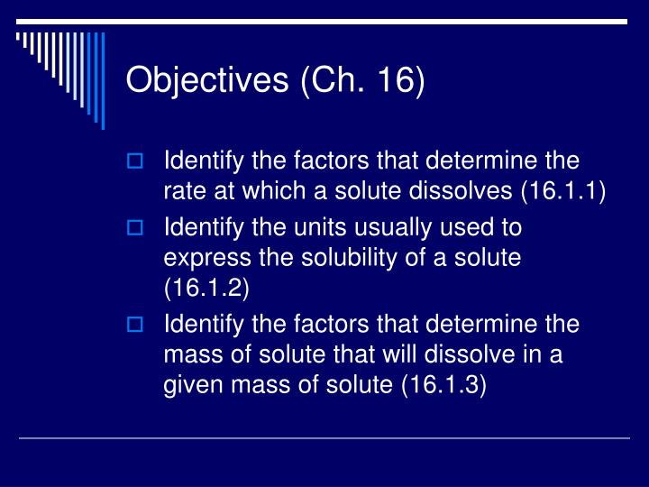 Objectives (Ch. 16)