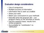 evaluation design considerations