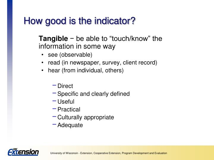 How good is the indicator?