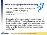 what is your purpose for evaluating