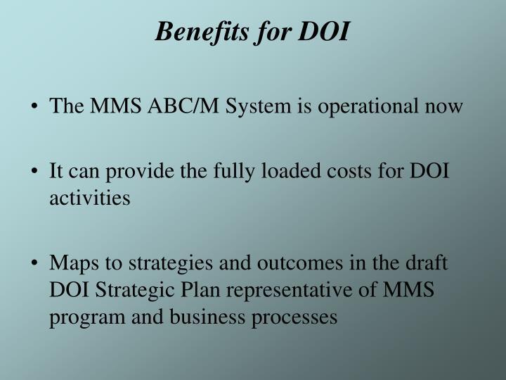 Benefits for DOI
