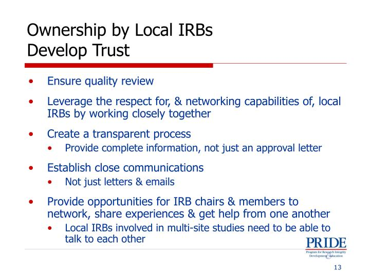 Ownership by Local IRBs