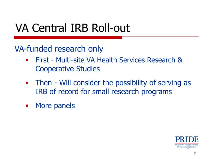 VA Central IRB Roll-out