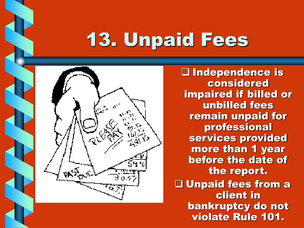 13. Unpaid Fees