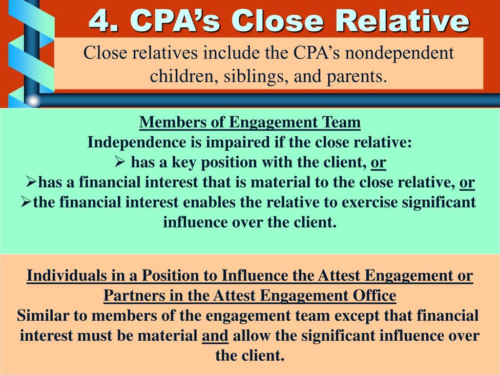 4. CPA's Close Relative